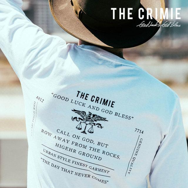 CRIMIE(クライミー) メンズ Tシャツ ロゴプリント コットン100%【C1H5-TE02】 [S M L XL][ホワイト ブラック 白 黒] カジュアル 長