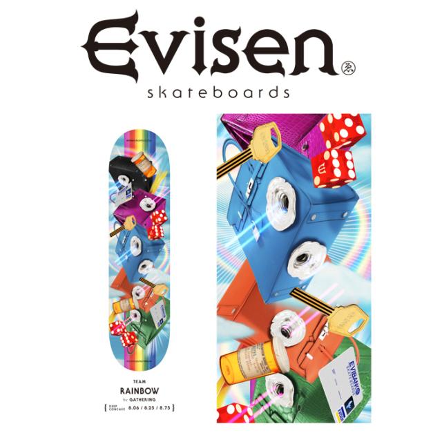 【EVISEN】 Evisen Skateboards (エヴィセン スケートボード)  RAINBOW by 田中ケイ  【デッキ スケートボード スケボー】【エビセ