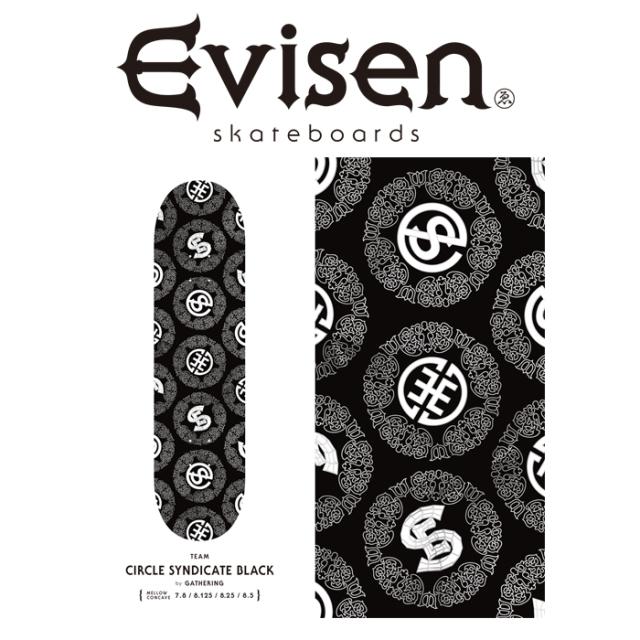 【EVISEN】 Evisen Skateboards (エヴィセン スケートボード)  CIRCLE SYNDICATE BLACK by 田中ケイ  【デッキ スケートボード ス