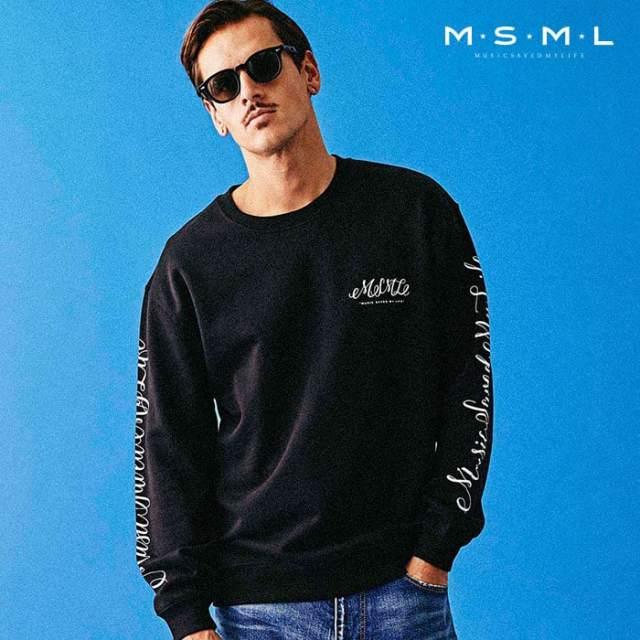 MSML(MUSIC SAVED MY LIFE)(エムエスエムエル) CURSIVE SWEAT 【スウェット トレーナー】【ストリートファッション ロック バンド