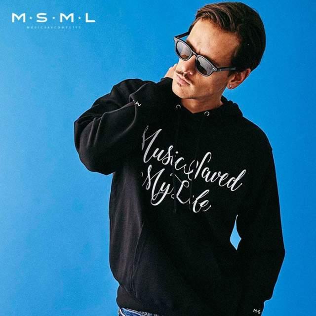 MSML(MUSIC SAVED MY LIFE)(エムエスエムエル) FRONT CURSIVE HOODIE 【スウェット パーカー】【ストリートファッション ロック バ