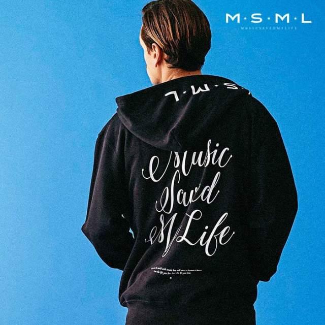 【SALE30%OFF】 MSML(MUSIC SAVED MY LIFE)(エムエスエムエル) CURSIVE ZIP HOODIE 【スウェット ジップパーカー】【ストリートフ