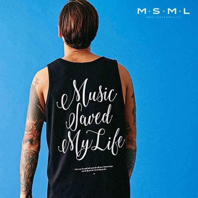 MSML(MUSIC SAVED MY LIFE)(エムエスエムエル) CURSIVE TANK TOP 【タンクトップ】【ストリートファッション ロック バンド】【M00
