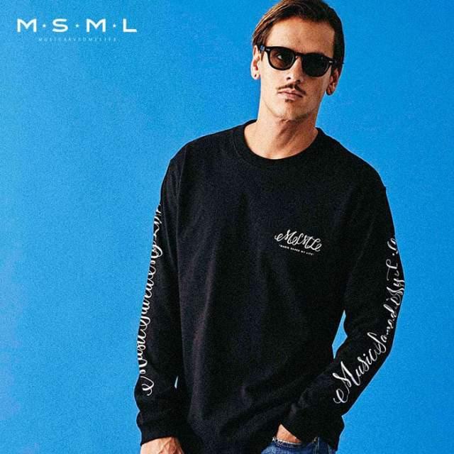 MSML(MUSIC SAVED MY LIFE)(エムエスエムエル) CURSIVE LONG SLEEVE TEE 【ロングスリーブTシャツ ロンT】【ストリートファッショ