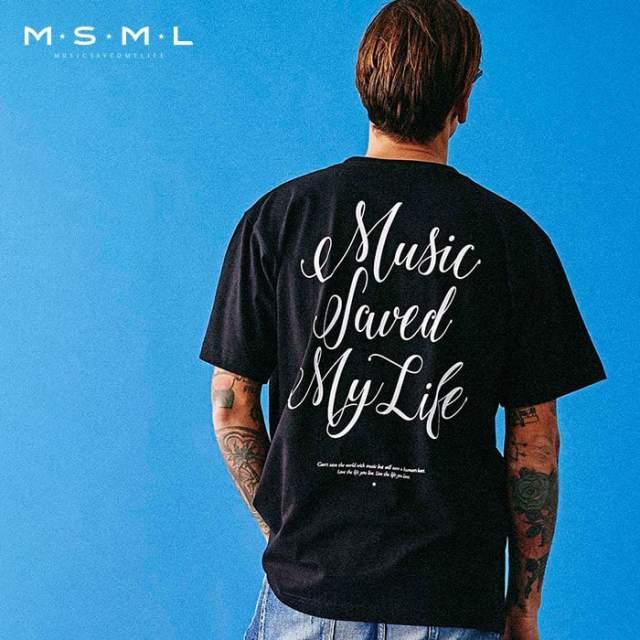 MSML(MUSIC SAVED MY LIFE)(エムエスエムエル) CURSIVE TEE 【Tシャツ 半袖】【ストリートファッション ロック バンド】【M001-02L