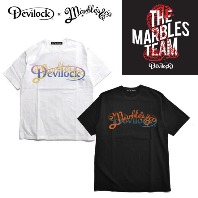 【SALE30%OFF】 DEVILOCK(デビロック)×MARBLES(マーブルス) W NAME LOGO Tee 【コラボレーション】【Tシャツ 半袖】【フロント プ