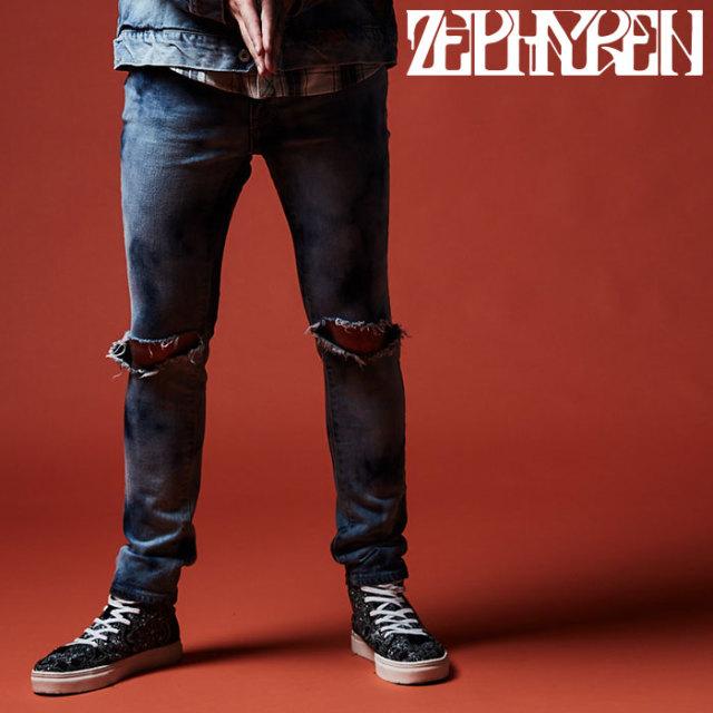 ZEPHYREN(ゼファレン) KNEE CLASHED SKINNY  【2019AUTUMN/WINTER先行予約】 【キャンセル不可】【Z17PQ01】【パンツ】