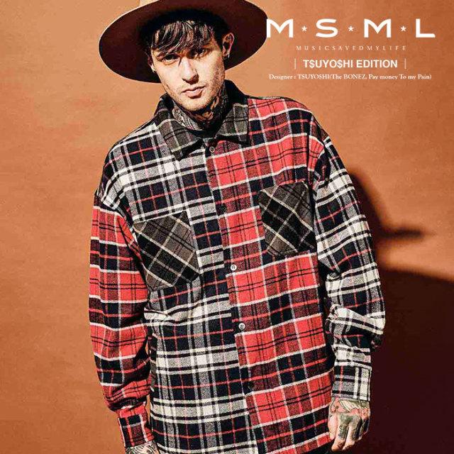 MSML(MUSIC SAVED MY LIFE) CRAZY PATTERN BALLOON CHECK SHIRTS 【2019AUTUMN&WINTER先行予約】 【キャンセル不可】【M101-01K5-