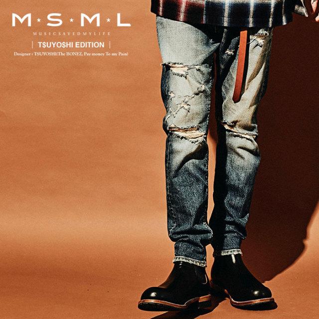 MSML(MUSIC SAVED MY LIFE) SARROUEL SKINNY DENIM PANTS  【2019AUTUMN&WINTER先行予約】 【キャンセル不可】【M1A1-01K5-PL01】