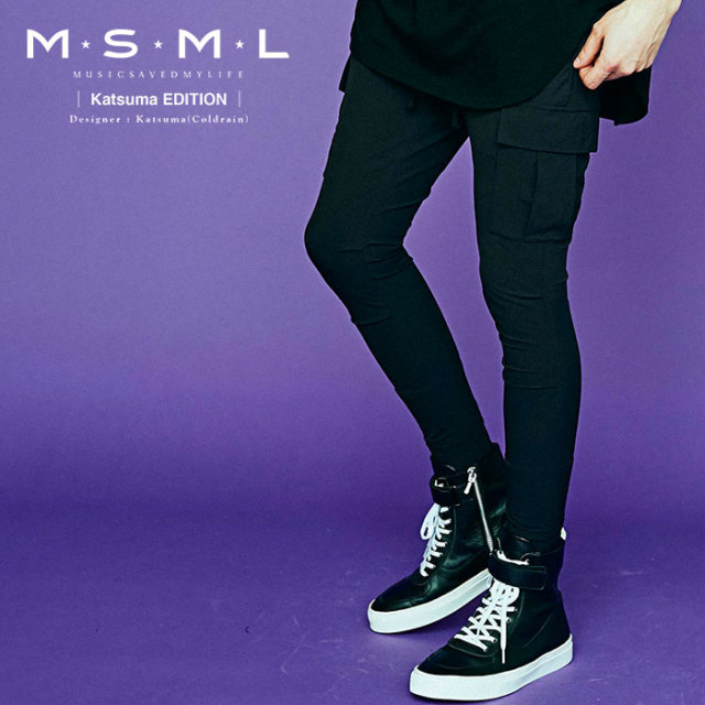 MSML(MUSIC SAVED MY LIFE)  NYLON SKINNY CARGO PANTS 【2019AUTUMN&WINTER先行予約】 【キャンセル不可】【M201-01K5-PL01】