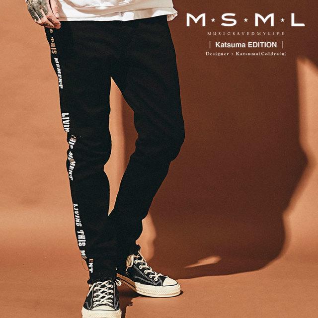 MSML(MUSIC SAVED MY LIFE)  SIDE LINE BLACK SKINNY DENIM PANTS 【2019AUTUMN&WINTER先行予約】 【キャンセル不可】【M201-01K5