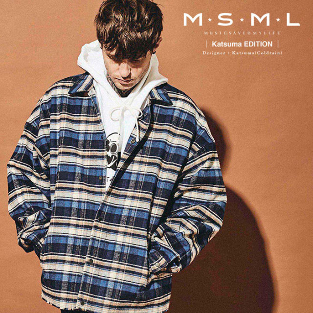 MSML(MUSIC SAVED MY LIFE)  HEAVY TWILL CHECK BALLOON SHIRT JACKET 【2019AUTUMN&WINTER先行予約】 【キャンセル不可】【M201-