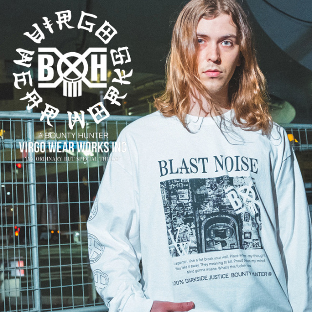 VIRGOwearworks×BOUNTY HUNTER/MOBSTYLES  NOISE L/S TEE 【Tシャツ ロンT】【VG-CB-107】【BOUNTY HUNTER】【2020SS SPOT先行予約