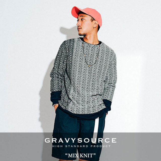 GRAVYSOURCE(グレイヴィーソース) MIX KNIT 【2018HOLIDAY/SPRING先行予約】 【送料無料】【キャンセル不可】 【GS18-HKN02】