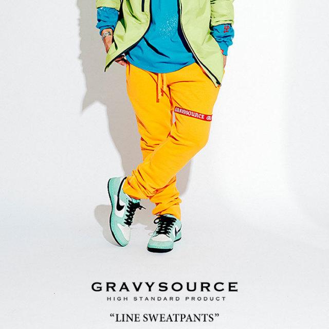 GRAVYSOURCE(グレイヴィーソース) LINE SWEATPANTS 【2018HOLIDAY/SPRING先行予約】 【送料無料】【キャンセル不可】 【GS18-HPT