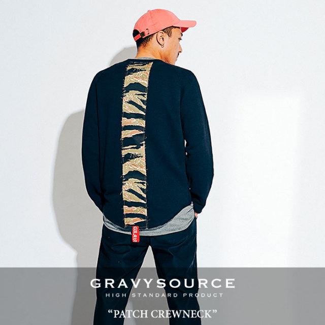 GRAVYSOURCE(グレイヴィーソース) PATCH CREWNECK  【2018HOLIDAY/SPRING先行予約】 【送料無料】【キャンセル不可】 【GS18-HSW