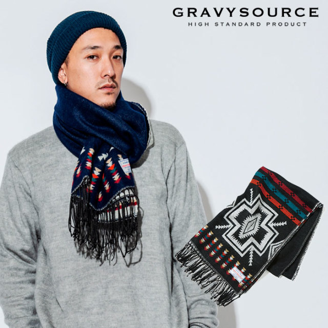 GRAVYSOURCE(グレイヴィーソース) NATIVE STOLE 【2018AUTUMN/WINTER新作】 【マフラー ストール】【GS18-AAC01】