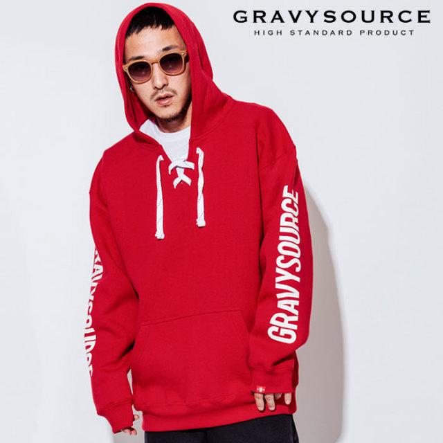 GRAVYSOURCE(グレイヴィーソース) LACE UP HOODY 【2018AUTUMN/WINTER先行予約】 【キャンセル不可】【GS18-ASW04】