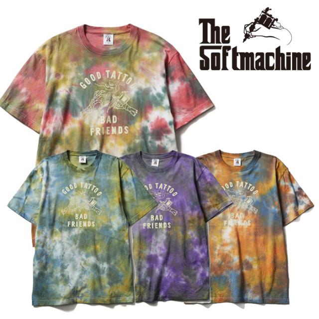 SOFTMACHINE(ソフトマシーン) BAD FRIENDS-T(TIE DYE T-SHIRTS) 【Tシャツ 半袖 タイダイ】【レッド ブルー パープル タトゥー】【