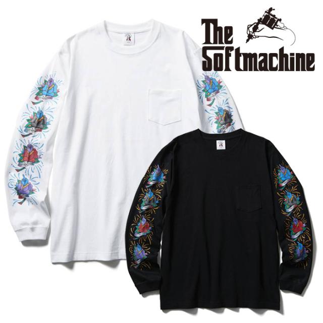 SOFTMACHINE (ソフトマシーン)  BLOOM ROSES L/S(L/S T-SHIRTS) 【Tシャツ 長袖 ブラック ホワイト タトゥー】【2021 SUMMERVACATI