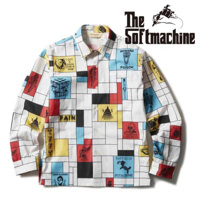 SOFTMACHINE(ソフトマシーン) COMPOSITION SHIRTS L/S(L/S SHIRTS) 【シャツ 長袖】【ホワイト タトゥー】【2021 SUMMERVACATION先