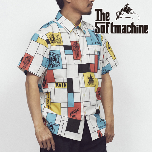 SOFTMACHINE(ソフトマシーン) COMPOSITION SHIRTS S/S(S/S SHIRTS) 【シャツ 半袖】【ホワイト タトゥー】【2021 SUMMERVACATION先