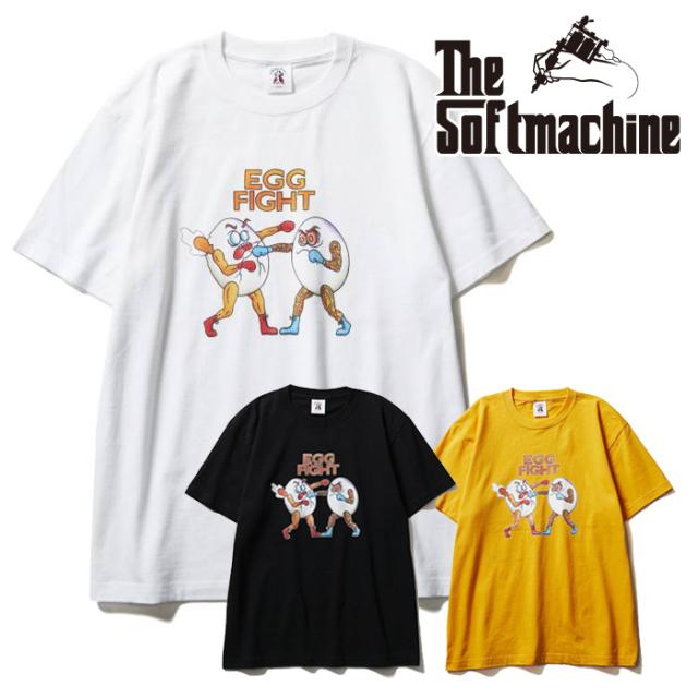 SOFTMACHINE(ソフトマシーン) EGG FIGHT-T(T-SHIRTS) 【Tシャツ 半袖】【ブラック ホワイト イエロー タトゥー】【2021 SUMMERVACA