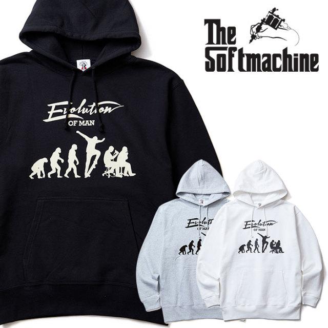 SOFTMACHINE(ソフトマシーン) EVOLUTION HOODED 【スウェットパーカー】【ホワイト ブラック グレー タトゥー】【送料無料】 【20