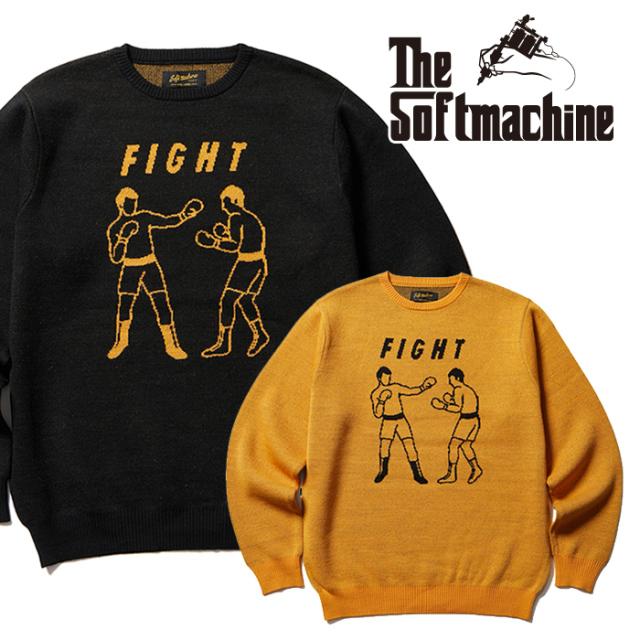SOFTMACHINE(ソフトマシーン) FIGHT SWEATER 【セーター】【ブラック マスタード タトゥー】【2021 AUTUMN&WINTER 先行予約】【キ