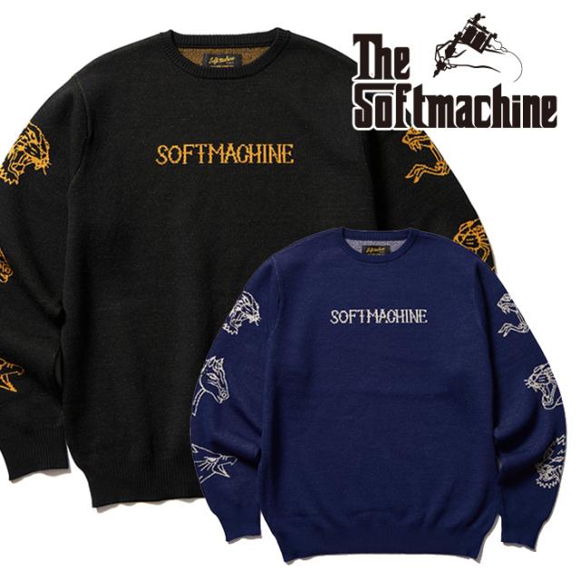 SOFTMACHINE(ソフトマシーン) FLASH SWEATER 【セーター】【ブラック ネイビー タトゥー】【2021 AUTUMN&WINTER 先行予約】【キャ