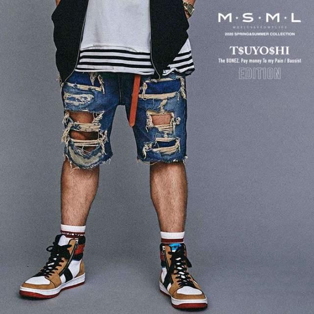 MSML(MUSIC SAVED MY LIFE)(エムエスエムエル) CRASH SARROUEL DENIM SHORTS 【ショートパンツ】【ストリート ロック バンド】【送
