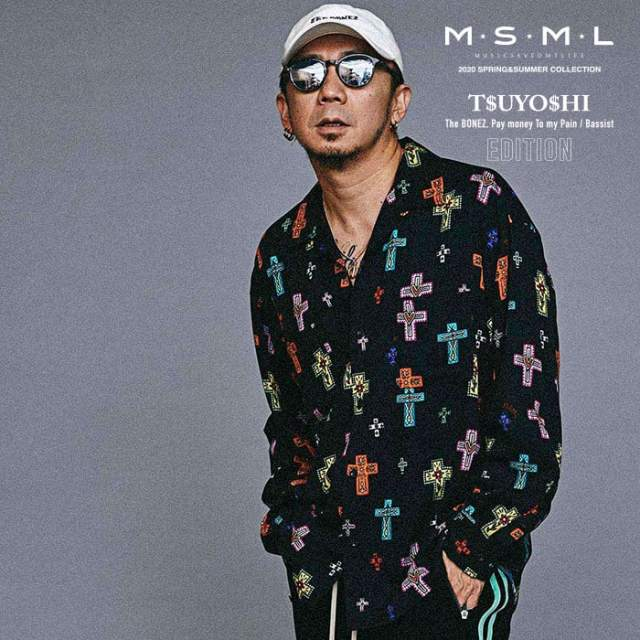 MSML(MUSIC SAVED MY LIFE)(エムエスエムエル) CROSSES OPEN COLLAR LONG SLEEVE SHIRT 【シャツ 長袖】【ストリートファッション