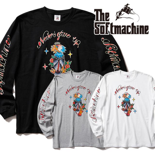 SOFTMACHINE (ソフトマシーン)  NEVER GIVE UP L/S 【ロンT Tシャツ 長袖】【ホワイト ブラック グレー タトゥー】【2021 AUTUMN&