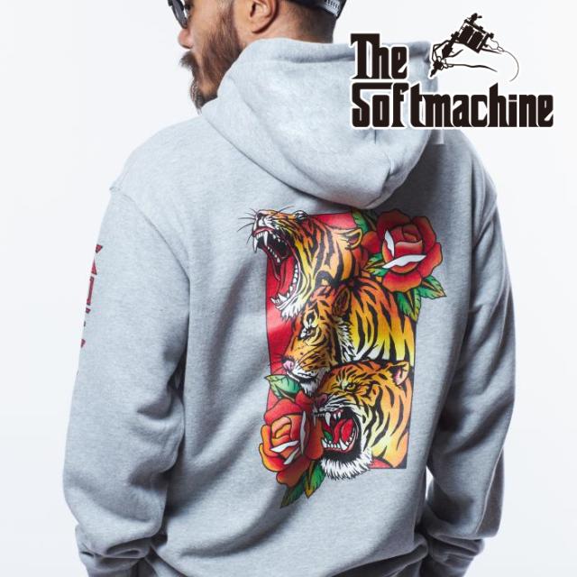 SOFTMACHINE (ソフトマシーン)  PHARAOH TIGERS HOODED 【フーディー パーカー】【ブラック ホワイト グレー タトゥー】【2021 AUT