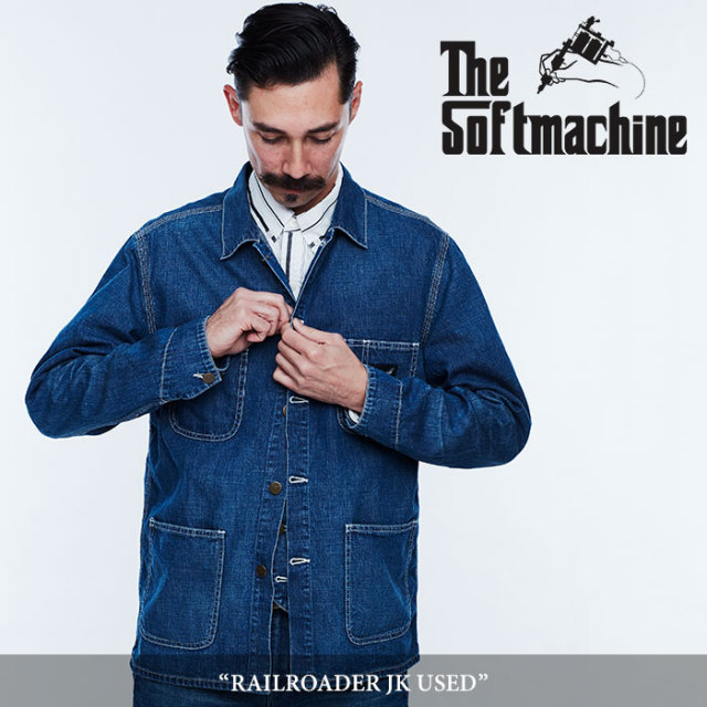 SOFTMACHINE(ソフトマシーン) RAILROADER JK USED(COVERALL JACKET) 【2018SPRING/SUMMER先行予約】 【キャンセル不可】【送料無