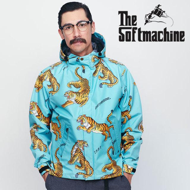 SOFTMACHINE(ソフトマシーン) TIGERS GARDEN RAIN PARKA 【レインパーカー】【ブルー タトゥー タイガー】【送料無料】【2020SPRIN