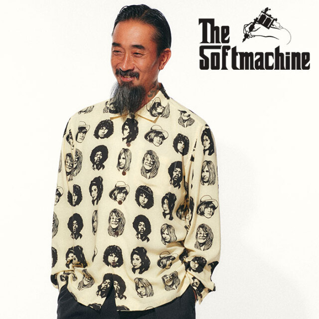 SOFTMACHINE(ソフトマシーン) TWENTY SEVEN SHIRTS L/S 【シャツ 長袖】【ホワイト イエロー ブルー タトゥー】【2021 SPRING&SUMM