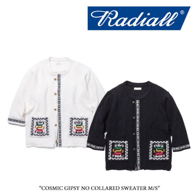 【SALE】 RADIALL(ラディアル) COSMIC GIPSY NO COLLARED SWEATER M/S 【2018 SPRING&SUMMER新作】【RAD-18SS-KNIT003】