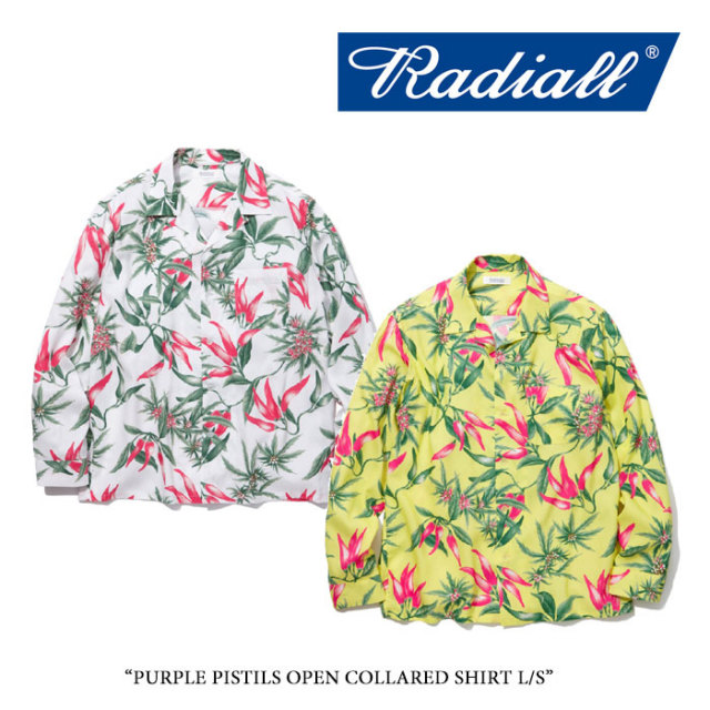 RADIALL(ラディアル) PURPLE PISTILS OPEN COLLARED SHIRT L/S 【2018 SPRING&SUMMER新作】 【送料無料】【即発送可能】 【RADIA