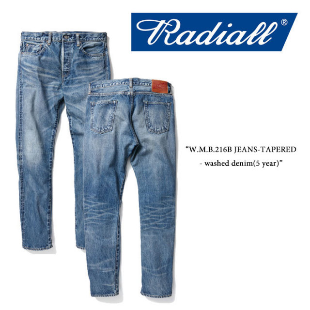 RADIALL(ラディアル) W.M.B.216B JEANS-TAPERED- washed denim(5 year) 【RADIALL USED加工 デニムパンツ】 【送料無料】 【RADI