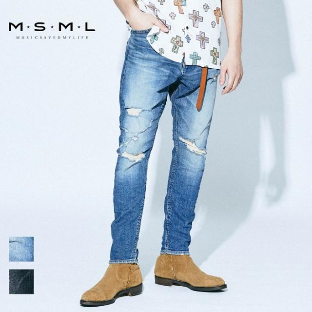 MSML/SARROUEL SKINNY DESTROY DENIM PANTS/M11-02A1-PL03
