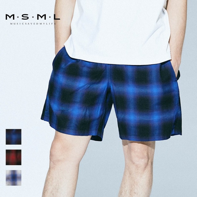 MSML/OMBRER CHECK RELAX SHORTS/M11-02A1-PS03