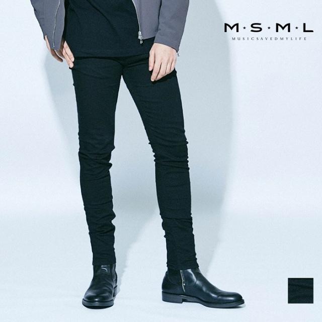 MSML/BLACK SKINNY PANTS/M21-02A1-PL03スキニーパンツ/スキニー/coldrainパンツ/岡山/ダメージ/ヴィンテージ/加工/ストレッチ/ファ