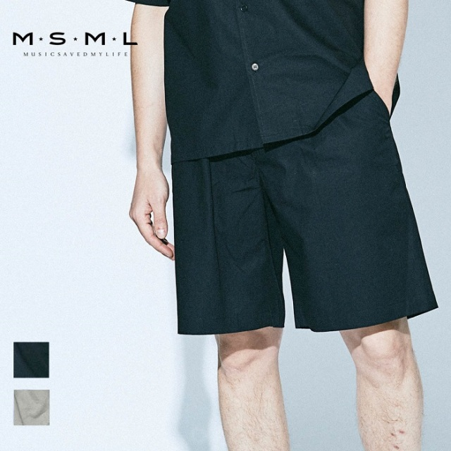 【SALE20%OFF】MSML/ONE TUCK WIDE SHORTS/M21-02A1-PS02ワイドショーツ/ショーツ/ワンタック/リラックス/coldrainパンツ/イージー