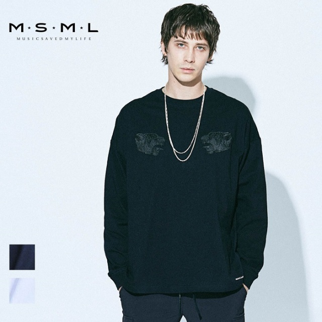 【SALE20%OFF】MSML/TIGER EMBROIDERY BIG LONG SLEEVE TEE/M21-02A1-TL01トップス/coldrainTシャツ/刺繍/ストリート/ファッション/