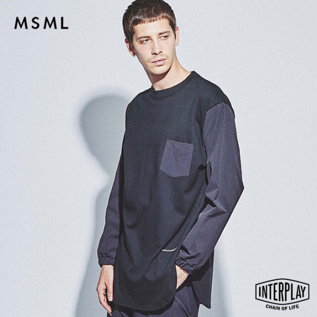 【SALE30%OFF】エムエスエムエル MSML 袖切替ロングスリーブカットソー DIFFERENT MATERIAL LONG SLEEVE CUTSEW M21-02L5-CL01 coldr