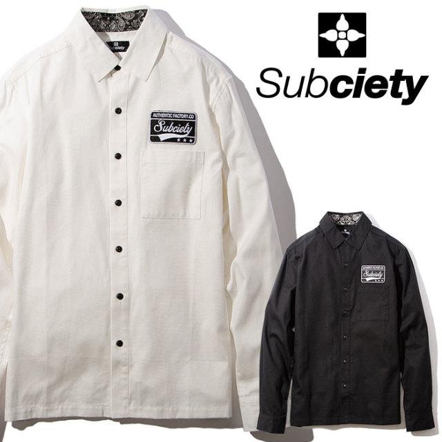 SUBCIETY(サブサエティ) EMBLEM SHIRT L/S-Plain- 【2019AUTUMN/WINTER先行予約】 【キャンセル不可】【105-20042】【シャツ】