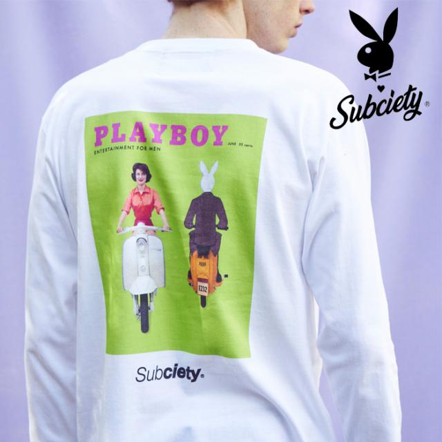 PLAYBOY×SUBCIETY(サブサエティ) COVER L/S 【105-44153】【ロングスリーブTシャツ】【プレイボーイ】