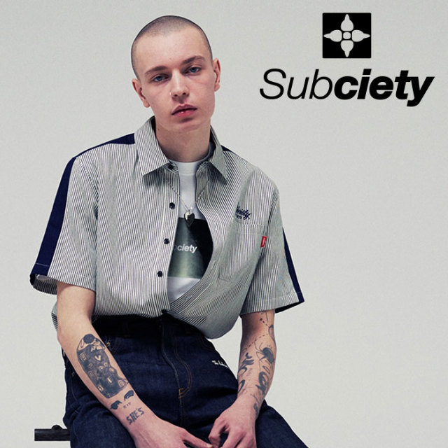 SUBCIETY(サブサエティ) STRIPE WORK SHIRT 【2019SUMMER先行予約】 【キャンセル不可】【109-22397】【シャツ】