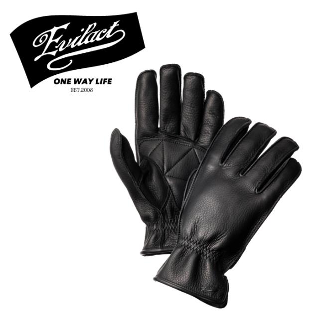 EVILACT (イーブルアクト)  MCGTS  (オイルドレザースリーシーズングローブ) black  【レザーグローブ 手袋 バイク バイカー モー